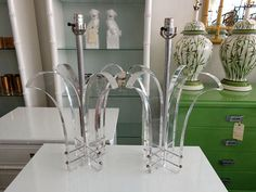 Pair of LUCITE Lamps in nice as found VINTAGE condition. There is minor wear to the lucite. Lamps have the original wiring and no shades. Candle Stand, Lamp Bases, Glass Vase, Lamps, Table Lamp, Candles, Lighting, Ideas, Home Decor