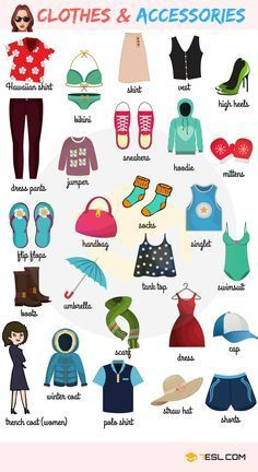 Learn Clothes & Accessories Vocabulary in English – ESL Buzz - Learn to speack english easy - Receive now your gift free for education here - Learning English For Kids, English Lessons For Kids, Kids English, English Language Learning, English Study, Teaching English, Kids Learning, English Verbs, English Vocabulary Words