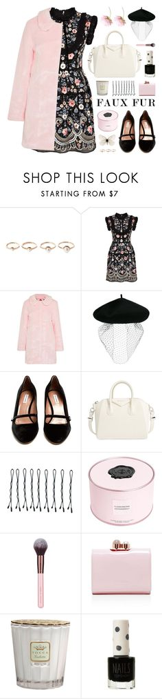 """pink faux fur coat"" by jesuisunlapin ❤ liked on Polyvore featuring Eddie Borgo, Needle & Thread, HVN, Silver Spoon Attire, Tabitha Simmons, Givenchy, BOBBY, Viktor & Rolf, Luxie and Ted Baker"