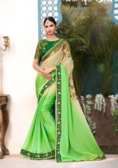 Honeydew and beige saree with blouse. Work - Embroidered patch border on saree with embroidery and stones on blouse. Paired with the matching blouse piece.Please Note: The shades may vary slightly Ethnic Outfits, Ethnic Dress, Indian Outfits, Fashion Outfits, Indian Clothes, Fasion, Chiffon Saree, Georgette Sarees, Chiffon Fabric