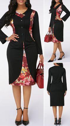 Long sleeve zipper back button detail dress hot sales African Wear Dresses, Latest African Fashion Dresses, African Print Fashion, African Attire, Frock Fashion, Fashion Moda, Fashion Outfits, Classy Dress, Outfits Dress