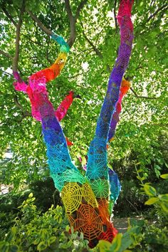I want to yarn bomb some trees! They are amazing!