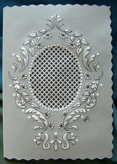 This Easter egg card reminds me of an ornate vintage mirror.