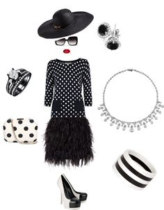 """Black & White Dots"" by mkac914 on Polyvore"