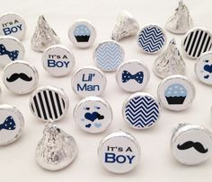 Baby Boy Shower Favors - It's a Boy Collections of 108 Stickers for Hershey Kisses including Chevrons, Mustaches, It's a Boy, Lil' Man and Much More. #BabyShower