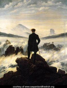 The Wanderer Above the Mists, Caspar David Friedrich. Beautiful Romantic era painting.
