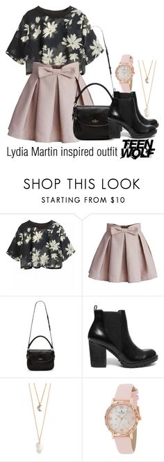 """Lydia Martin inspired outfit/TW"" by tvdsarahmichele ❤ liked on Polyvore featuring Chicwish, Kate Spade, Steve Madden and With Love From CA"