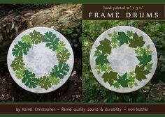 "OAK & IVY LEAVES border design 12"" by © Karrel Christopher ~ available ~ detailed oil painting on NON-leather FRAME DRUMS ~ Custom Totem Art created on Remo *Fiberskyn* Synthetic head ~ celebrating ANIMALS and NATURE ~ Playable Musical Instruments ~ Ideal for Meditation ~ Drum Ceremonies ~ Fine Art display ~ Sound Healing ~ http://karrelchristopher.com/drums-wildlife-a-plants.html ~ message me about commissioning your personal drum design."