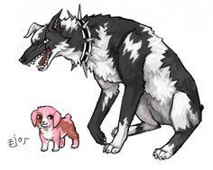 Yachiru  Kenpachi as dogs