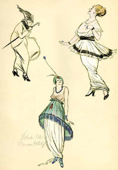 In Iribe's illustration, ladies in Paul Poiret gowns gaze, amused or bemused, into a black-and-white past, when women wore corsets, even during the potentially strenuous task of playing music. Description from fitnyc.edu. I searched for this on bing.com/images