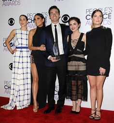 Troian Bellisario Shay Mitchell Ian Harding Lucy Hale and Ashley Benson winners of Favorite Cable TV Drama for 'Pretty Little Liars' pose in the...