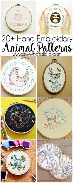 20+ Animal Embroidery Patterns to Stitch: If you love to sew and embroider and you love animals then these patterns are perfect for you. Click through for a full list of animal embroidery patterns. | www.sewwhatalicia.com #ad