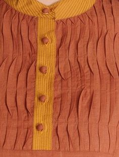 Buy Rust-Mustard Pleated Yoke Handwoven Mangalgiri Cotton Kurta by Jaypore Online at Jaypore.com Salwar Designs, Mens Kurta Designs, Kurti Designs Party Wear, Neck Designs For Suits, Sleeves Designs For Dresses, Dress Neck Designs, Fancy Blouse Designs, Embroidery Designs, Embroidery Suits