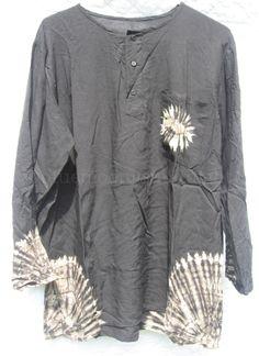 Black Beige Top Shirt Blouse Long Sleeve Tie Dye Hippie Boho Size XXL NWOT