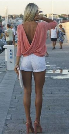 Super Cute! Love this Top! Love the Back! Love the Crossover Draping! Sexy Pink Plain Ruffle Plunging Neckline T-Shirt #Sexy #Pink #Summer #Fashion