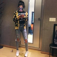 Jessi Instagram Update April 28 2016 at 05:11PM Kpop Fashion, Fashion Wear, Korean Fashion, Jessi Kpop, Nova Jersey, Hip Hop, Girl Outfits, Cute Outfits, Best Rapper