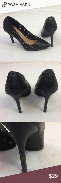 "[LC Lauren Conrad] 8 M Black Eyelet Flower Heels -Size 8 Medium  -Adorable floral eyelet design -Heel measures 4"" LC Lauren Conrad Shoes Heels"