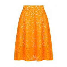 Msgm Lace Skirt (€245) ❤ liked on Polyvore featuring skirts, bottoms, orange skirt, orange lace skirt, lacy skirt, msgm and knee length lace skirt