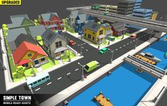 simple town - cartoon assets 3d model low-poly prefab 4