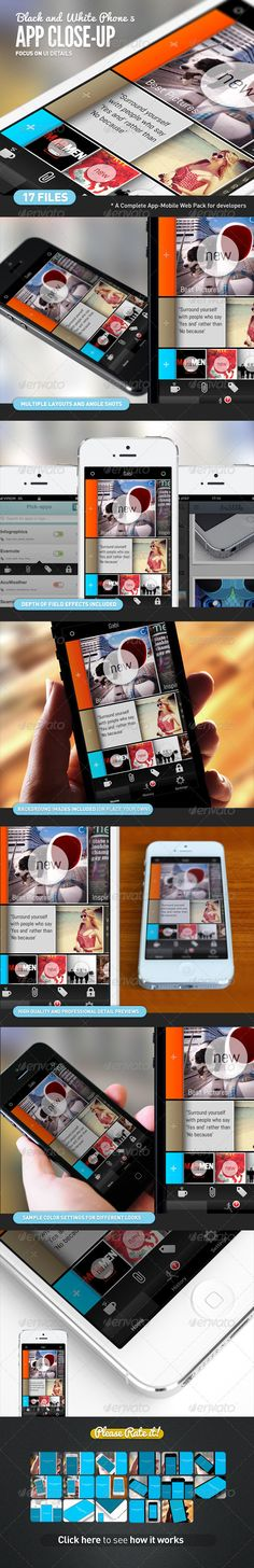 App UI Close-Up White Phone 5 Mock-Up - GraphicRiver Item for Sale