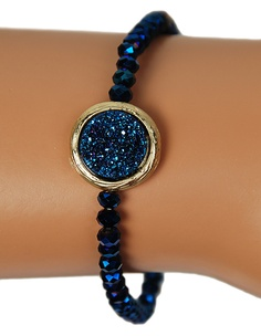 JBR140810 - Druzy Charm and China Glass Stretch Bracelet (Available in Blue, Chocolate, Hematite, Silver)
