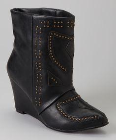 Black Wedge Boot