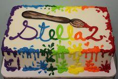 Art Birthday Cake, Artist Birthday, Birthday Sheet Cakes, Birthday Ideas, 9th Birthday, Art Party Cakes, Cake Art, Paint Splatter Cake, Sheet Cake Designs