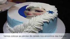 Bolo da Elsa (Frozen) - Trança feita com Chantilly