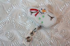 Christmas snowman  -  professional nursing badge holder - retractable badge holder - felt badge reel - badge clip - name badge holder