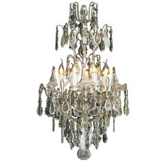 A six light rock crystal chandelier pendant lighting early 20th century french silvered crystal chandelier with eight lights aloadofball Image collections