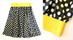 tutorial for a circle skirt with exposed elastic at the top (also a link on how to dye elastic!)