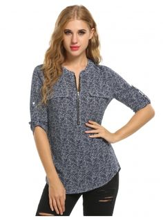 Blue&White O-Neck Long Sleeve Chiffon with Zipper Shirts & Blouses