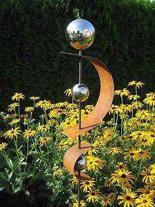 gartendeko rost skulptur 120 cm mit edelstahlkugel garten deko, Terrassen ideen