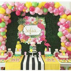 Aloha Party, Party Fiesta, Wild One Birthday Party, Luau Birthday, Luau Party, 1st Birthday Parties, Pink Flamingo Party, Flamingo Birthday, Tropical Party