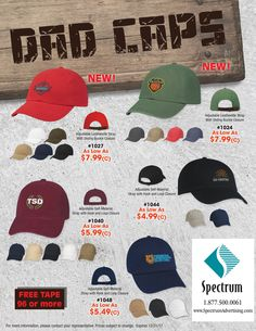 Hit Promotional Products presents Dad Caps of all shades!    http://spectrumadvertising.com/item_choose.cfm?listing=QuickSearch&strip=0&ClearListOrder=true&keyword=1027