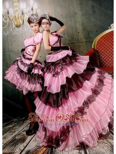 pink and black ball gown; short and long