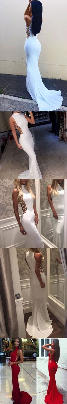 High Neck Prom Dresses,Red Prom Dresses,Mermaid Prom Dress,Sexy Long Prom Dresses,White Prom Dress