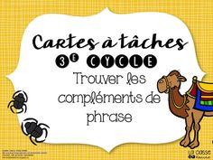 FREE French task cards. 2 petits documents pour réviser les classes de mots et les fonctions syntaxiques (le complément de phrase plus particulièrement).