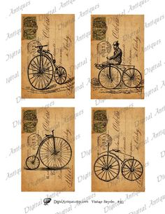 Vintage Bicycle Post Cards Sepia Image Collage by DigitalAntiques