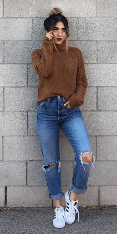 fall fashion; knit + ripped jeans + sneakers