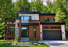 37 Stunning Modern House Design Ideas — love all except the stone Modern Garage, Modern Exterior, Exterior Design, Facade Design, Exterior Colors, Exterior Windows, Siding Colors, Exterior Siding, Dream House Exterior