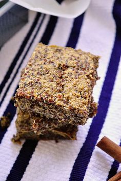 Cinnamon Quinoa Bake - This just came out of the oven, and from the looks/smell of it and the tiny bite I scratched off, this will be AMAZING. Seemed too runny a first, but oh my!