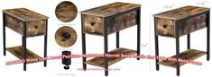 Black End Tables, Small End Tables, Wood End Tables, End Tables With Storage, Narrow Nightstand, Nesting End Tables, Storage Drawers, Open Shelving, Living Room Designs