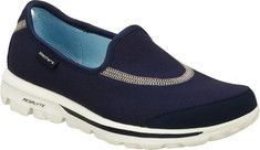 Skechers Women's Go Walk - Navy .I have 5 pairs in different colors! So comfy! I went on vacation and took them all with me. I lived in them all week! Comfy Walking Shoes, Shoe Deals, Walk This Way, Navy Shoes, Skechers, Vans, Footwear, Slip On, My Style