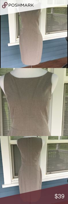"""ANN TAYLOR Gray Sheath Dress ANN TAYLOR Gray Sheath Dress.   Sleeveless.  Decorative stitching go. Light gray rayon/polyester/spandex blend stretchy material.   Pit-to-pit 17-1/2"""".  Waist 31"""".  Length 3& (shoulder to hem).   Excellent condition. Ann Taylor Dresses Midi"""