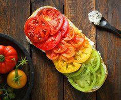 Multicolour tomato open sandwich