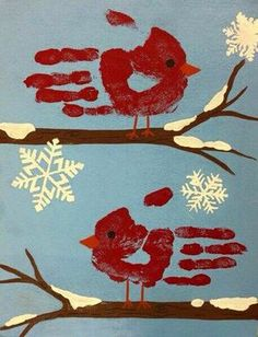 Handprint cardinals.  Could use a paper punch or bleach on a snowflake stamp