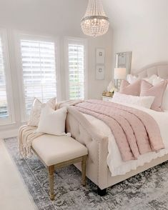 Most Popular and Amazing Bedroom Design Ideas for This Year Part 24 - Home decor - Bedroom Decor Room Ideas Bedroom, Home Decor Bedroom, Modern Bedroom, Contemporary Bedroom, Bedroom Inspo, Blush Bedroom Decor, French Bedroom Decor, French Bedrooms, Bed Room