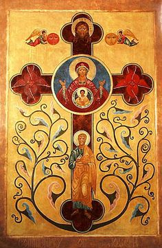 ЖИВОНОСНЫЙ КРЕСТ<br /> СО ХРИСТОМ, БОГОМАТЕРЬЮ, СВ. ИОСИФОМ И АНГЕЛАМИ,<br /> соврем. икона