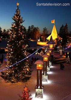 The Arctic Circle line in Santa Claus Village in Rovaniemi